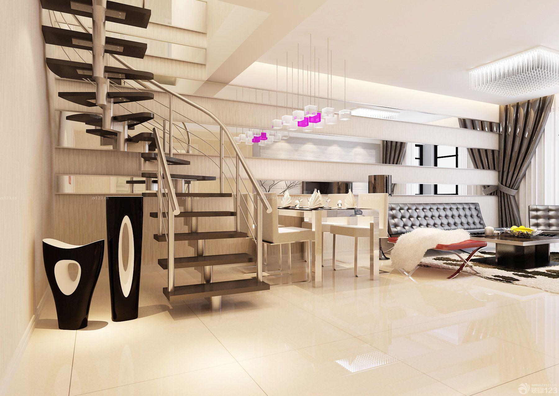 创意跃层家居楼梯法式装修设计效果图图片