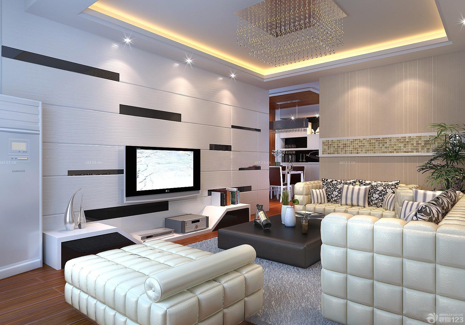 欧式硅藻泥电视背景墙装潢装修效果图