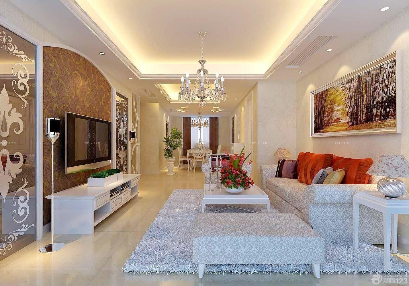 欧式风格客厅硅藻泥电视背景墙装修效果图