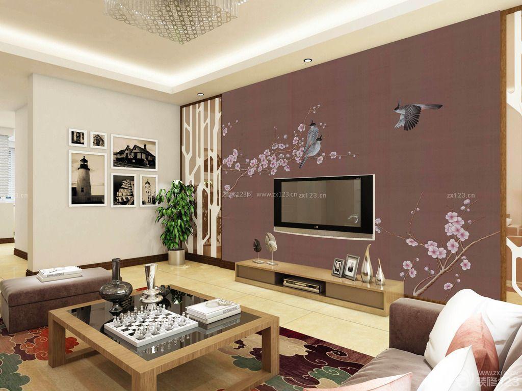 现代中式家装硅藻泥电视背景墙装修效果图图片