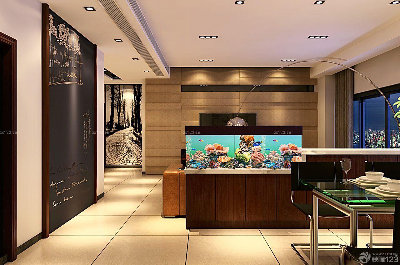 小戶型家居屏風式魚缸玄關魚缸裝修設計效果圖