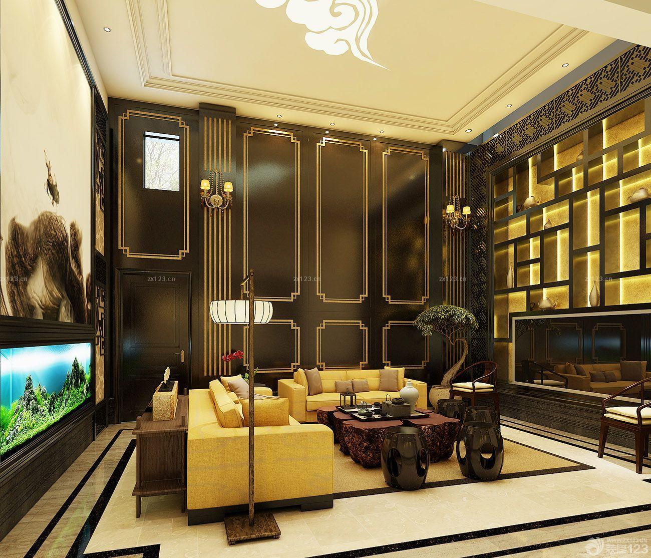 豪华中式客厅屏风式鱼缸玄关鱼缸装修效果图图片