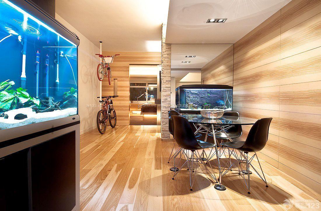 小户型室内屏风式鱼缸玄关鱼缸装修效果图