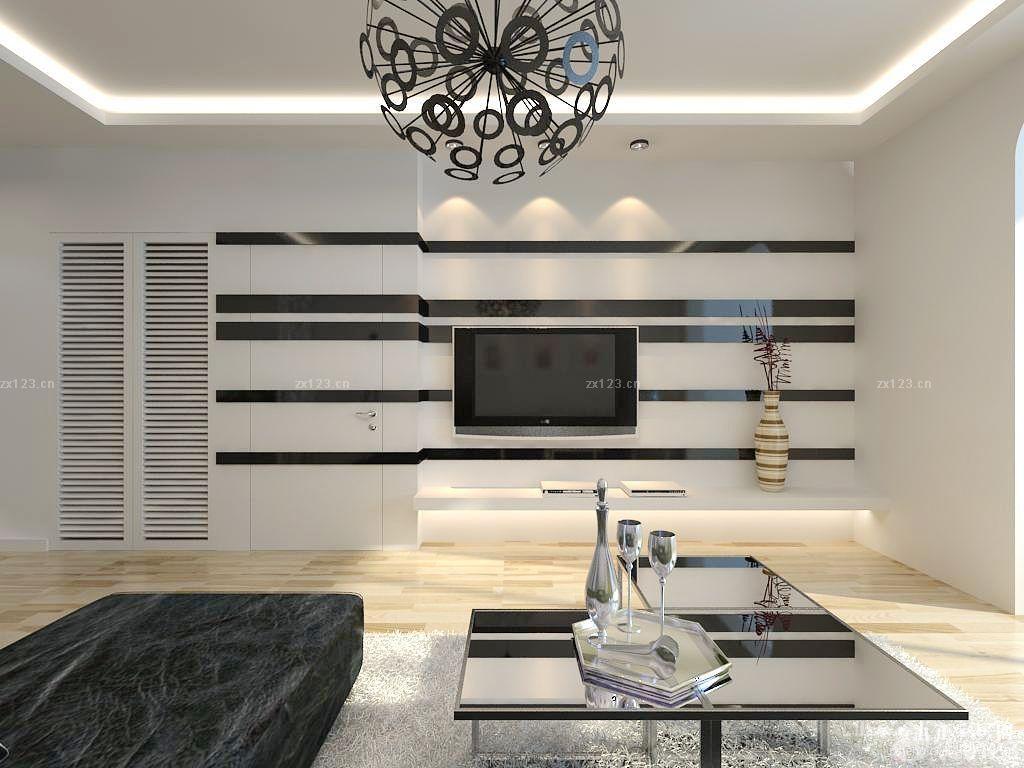 现代简约风格电视墙有门装修效果图大全