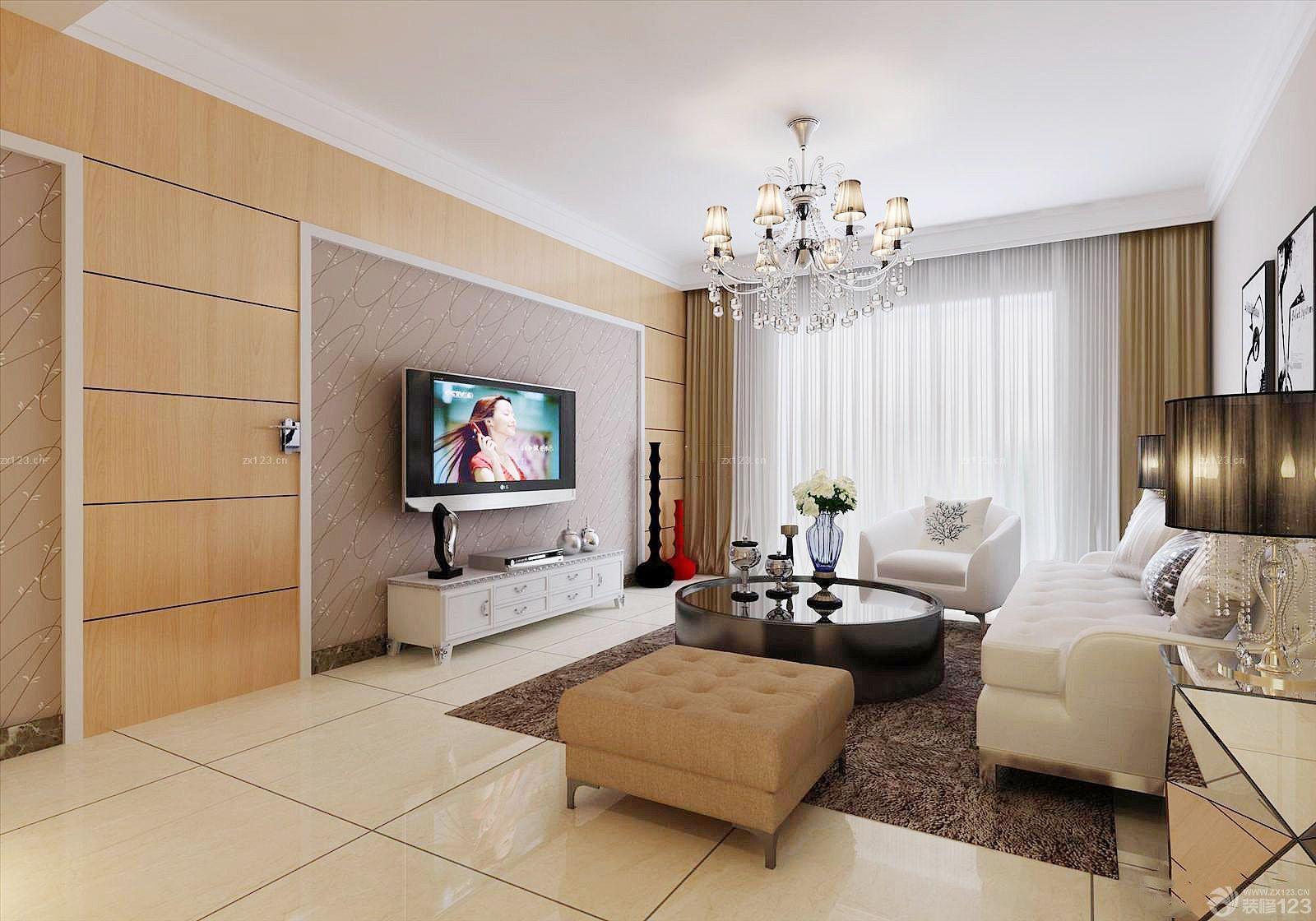 农村普通房子客厅电视墙有门装修效果图大全