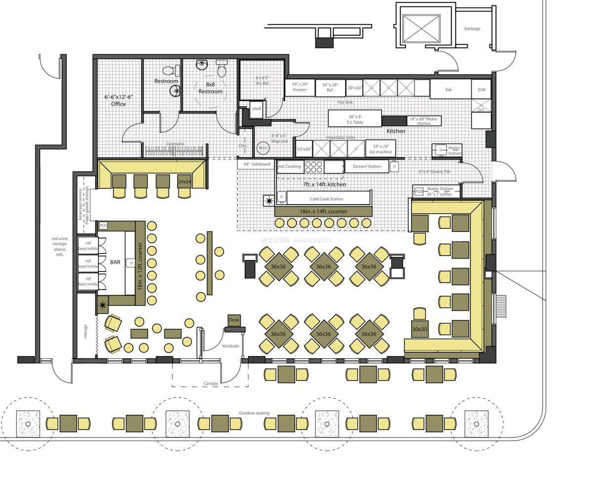 酒吧设计平面图台球厅设计