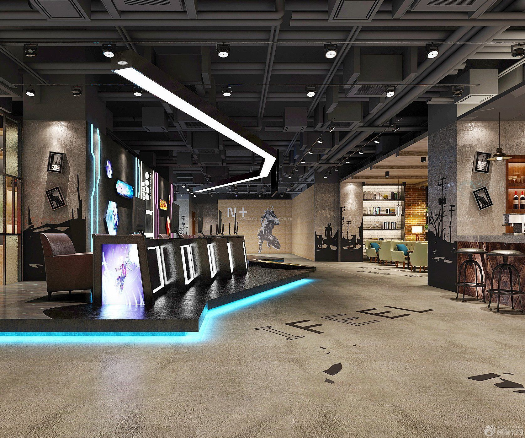 特色网吧吊顶设计装修效果图片