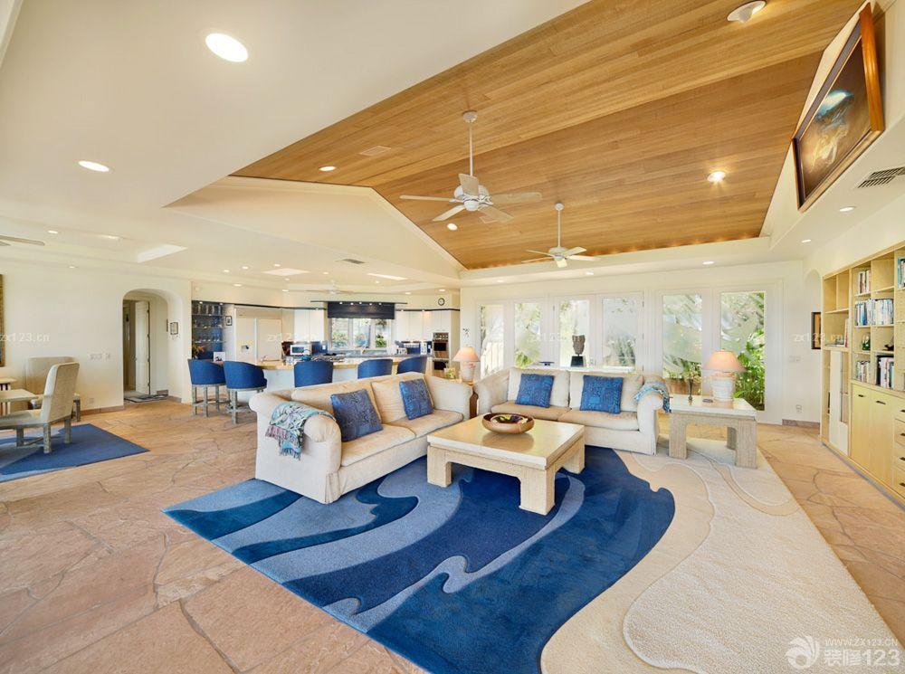 客厅房顶木质吊顶装修效果图