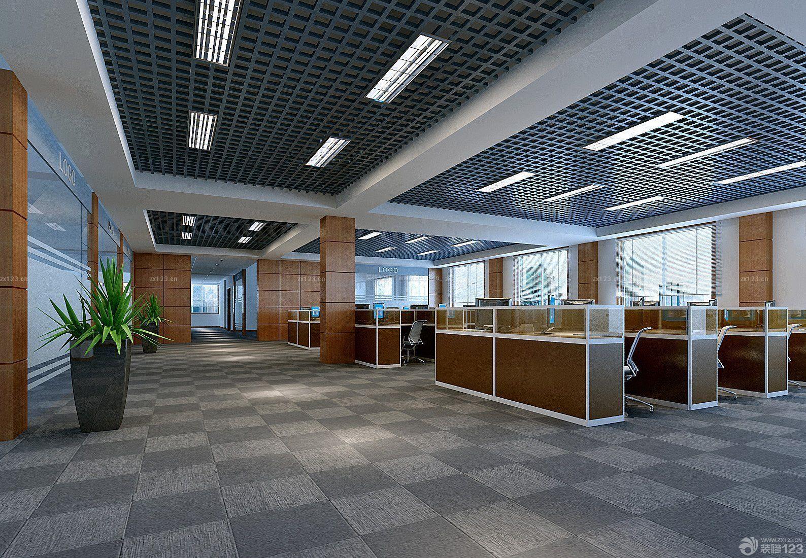 写字楼长方形办公室装修设计图