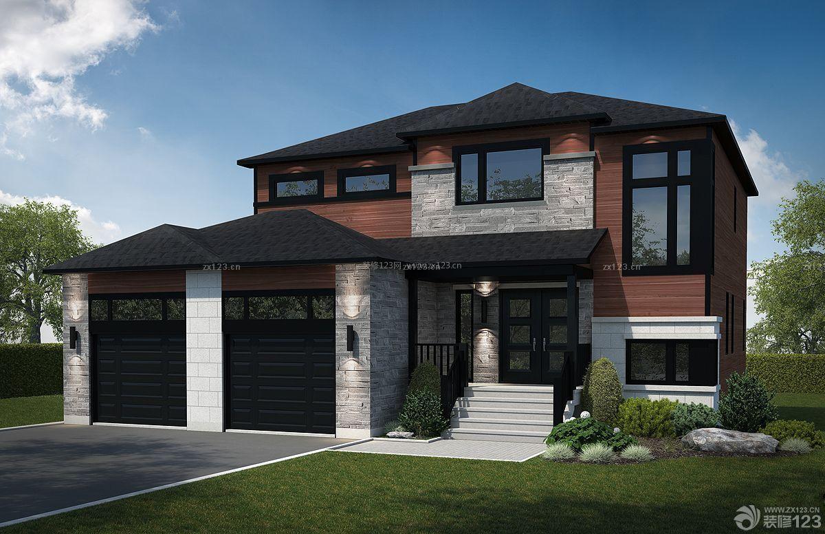 最新美式家装房屋外观设计效果图_装修123效果图