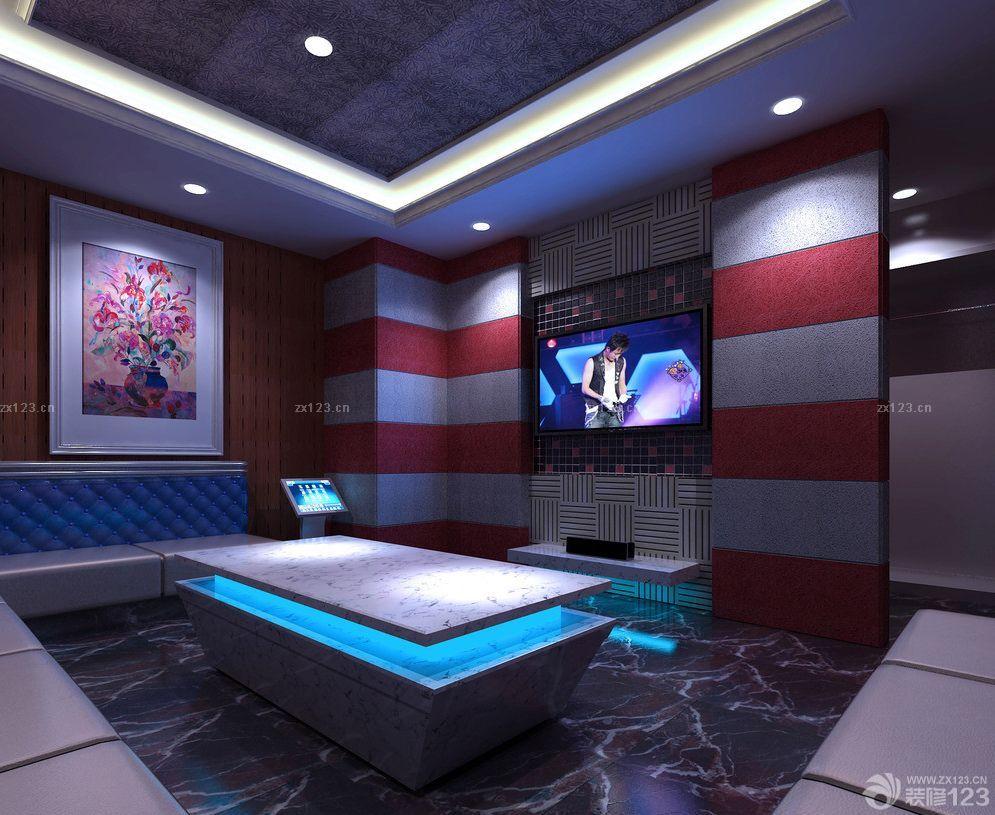 欧美风格ktv包间电视背景墙装修效果图片