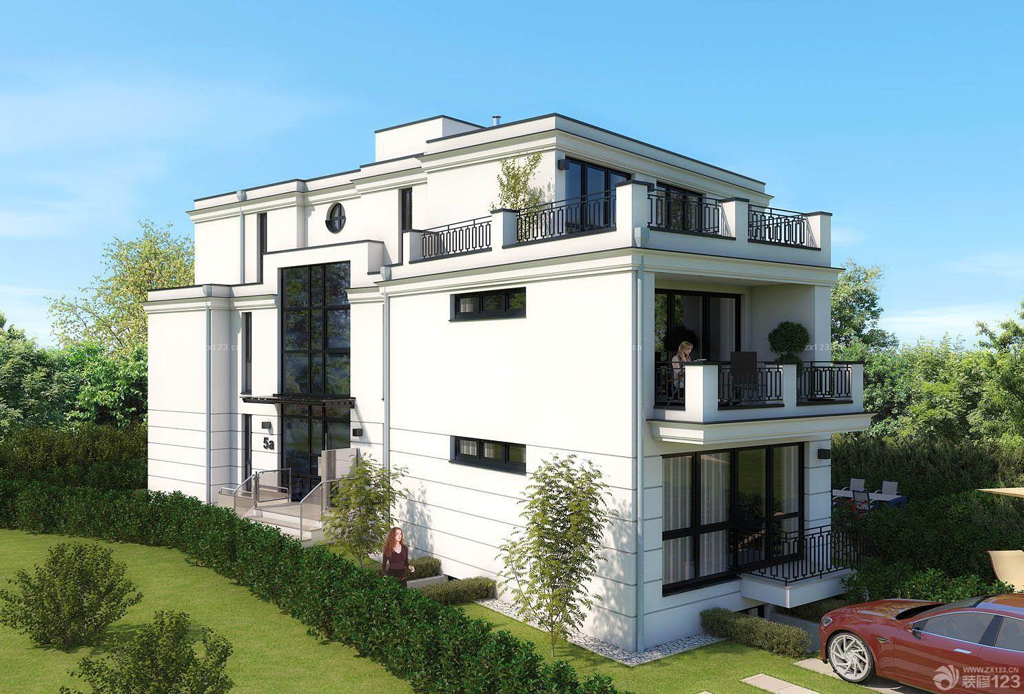 美式三层别墅外观设计效果图