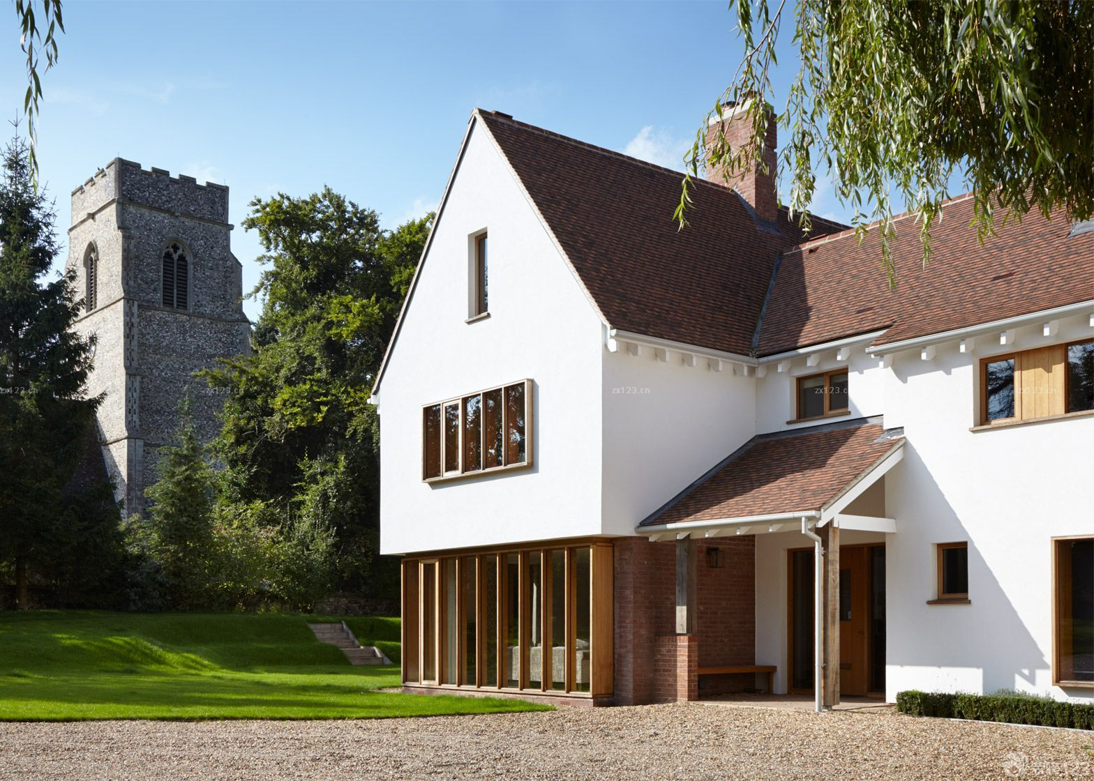 美式别墅外观阳台栏杆装修设计效果图片