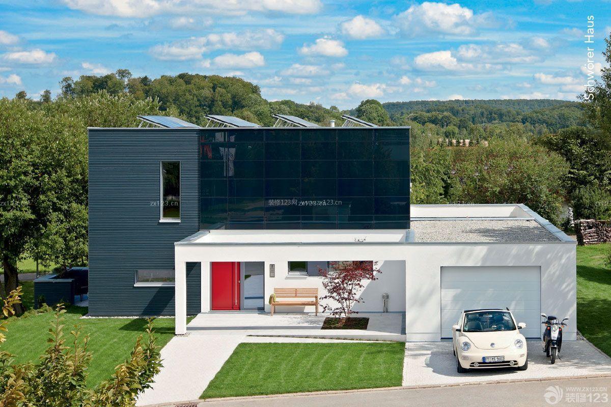 现代美式自建别墅外观设计效果图