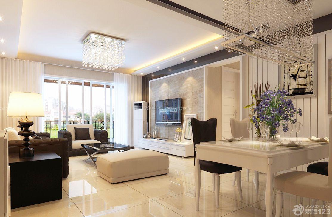 现代风格设计客厅连餐厅装修效果图