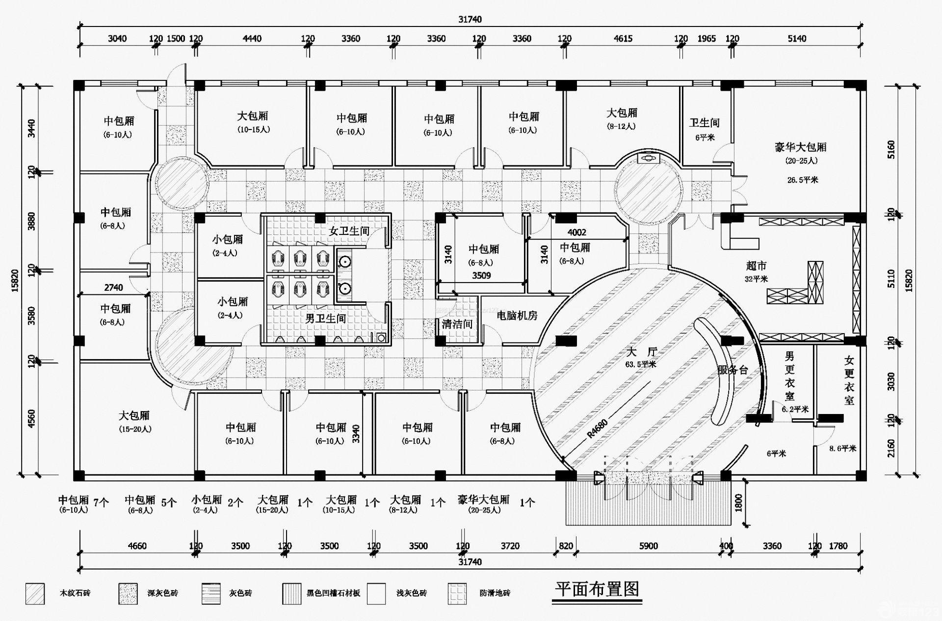 大型豪华ktv包间平面图