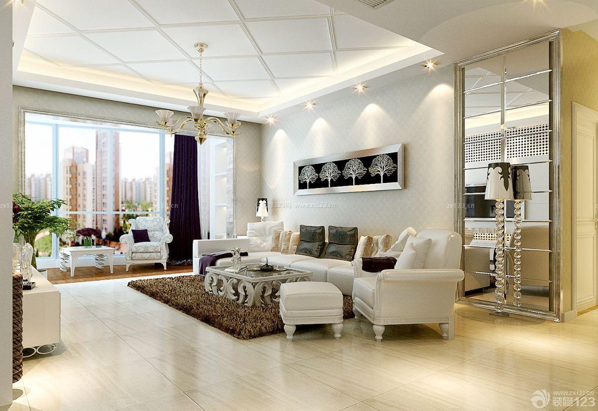 简欧客厅石膏板吊顶设计装修效果图片