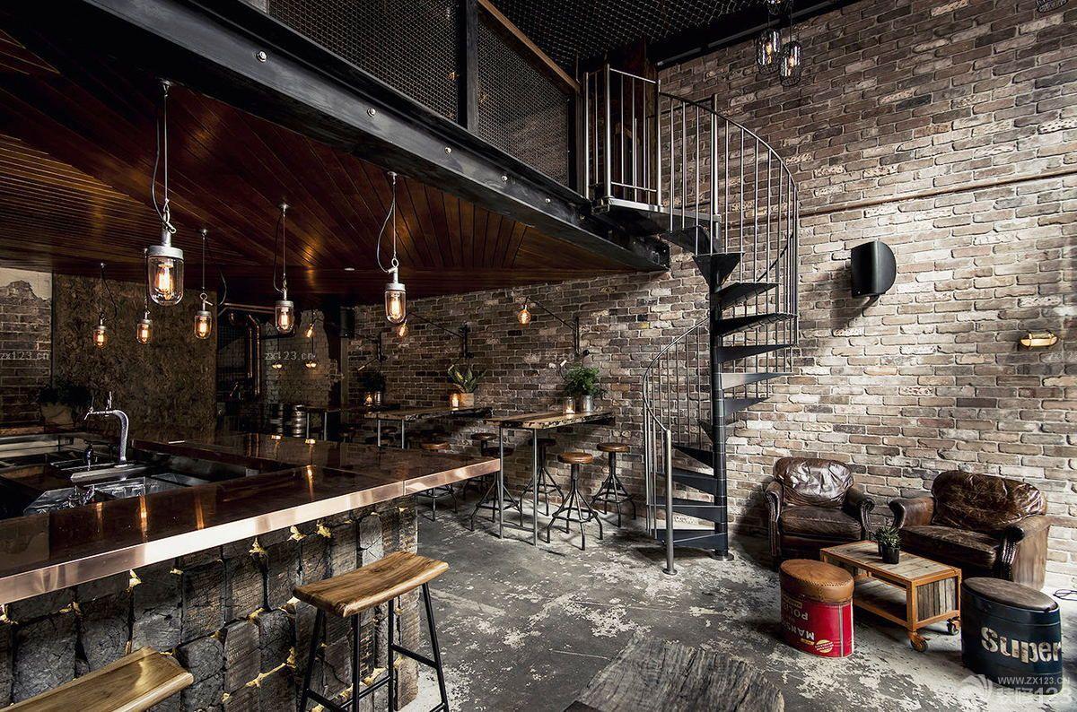 工业loft风格酒吧墙砖墙面装修效果图片