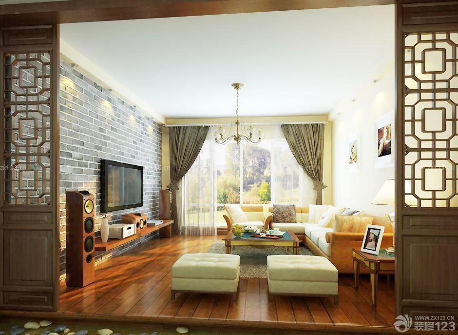 中式客厅原木地板装修效果图片欣赏