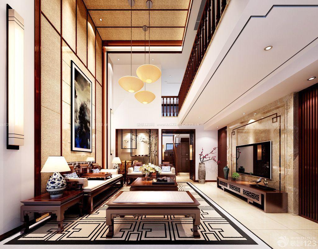 中式别墅客厅套房装修效果图_装修123效果图延庆高档别墅图片