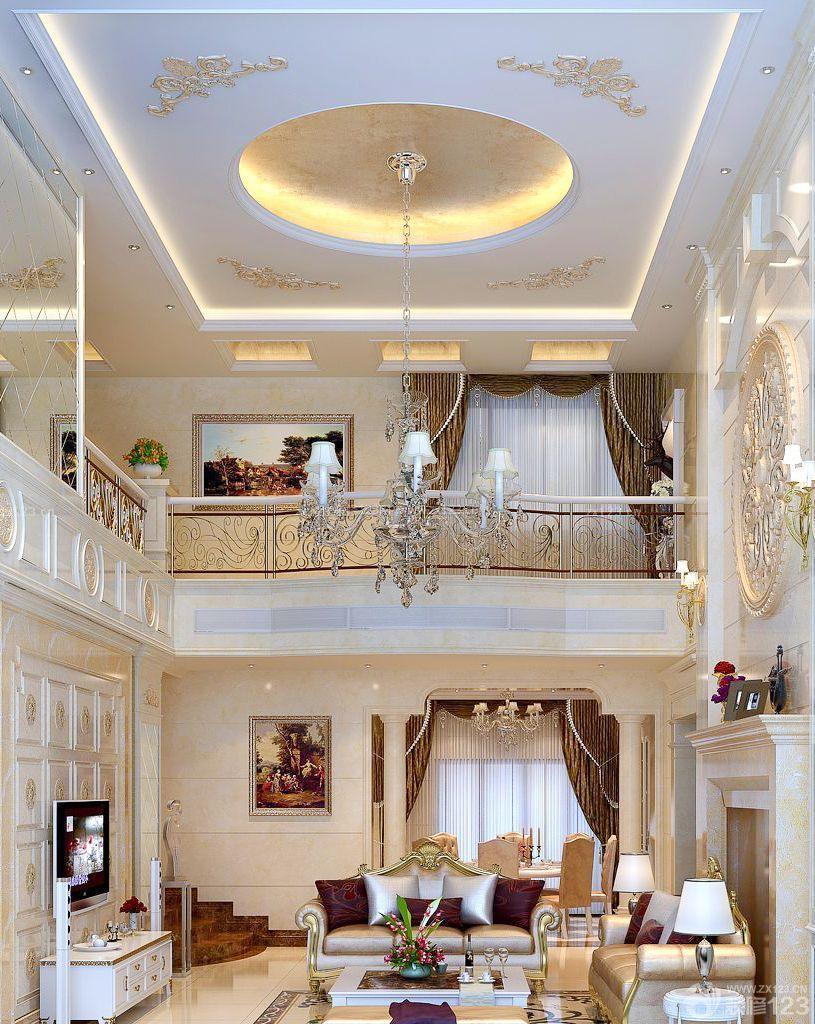 两层别墅挑空客厅电视背景墙设计图