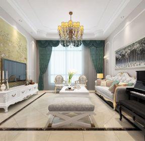 2020客厅绿色窗帘装修效果图大全-每日推荐