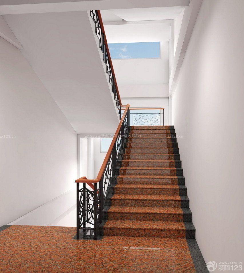 现代公司楼梯间地板砖颜色设计图片_装修123效果图图片