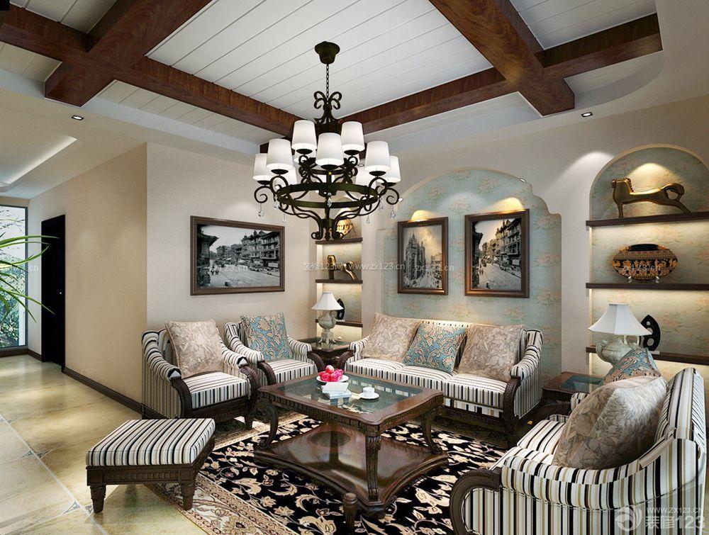 别墅客厅木质吊顶效果图