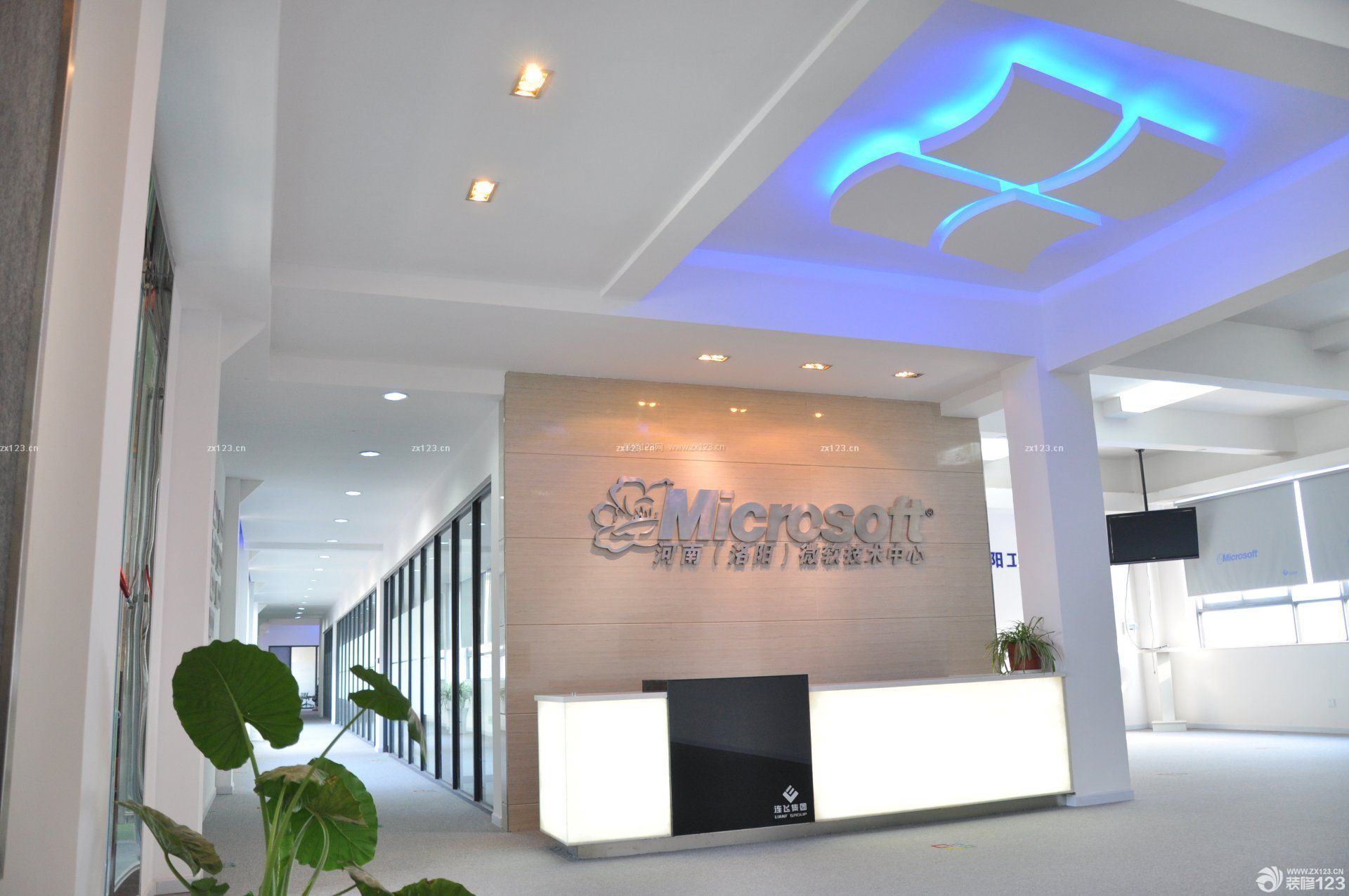 简约公司前台背景墙装修效果图片
