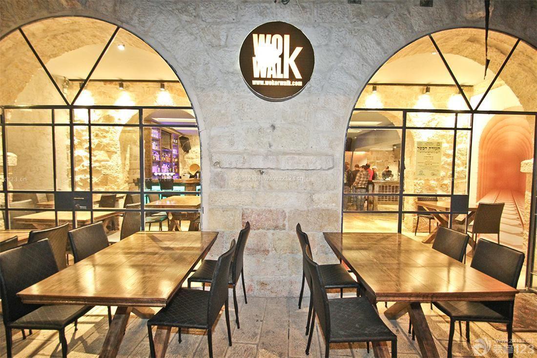 酒吧门头设计木质茶几装修效果图片