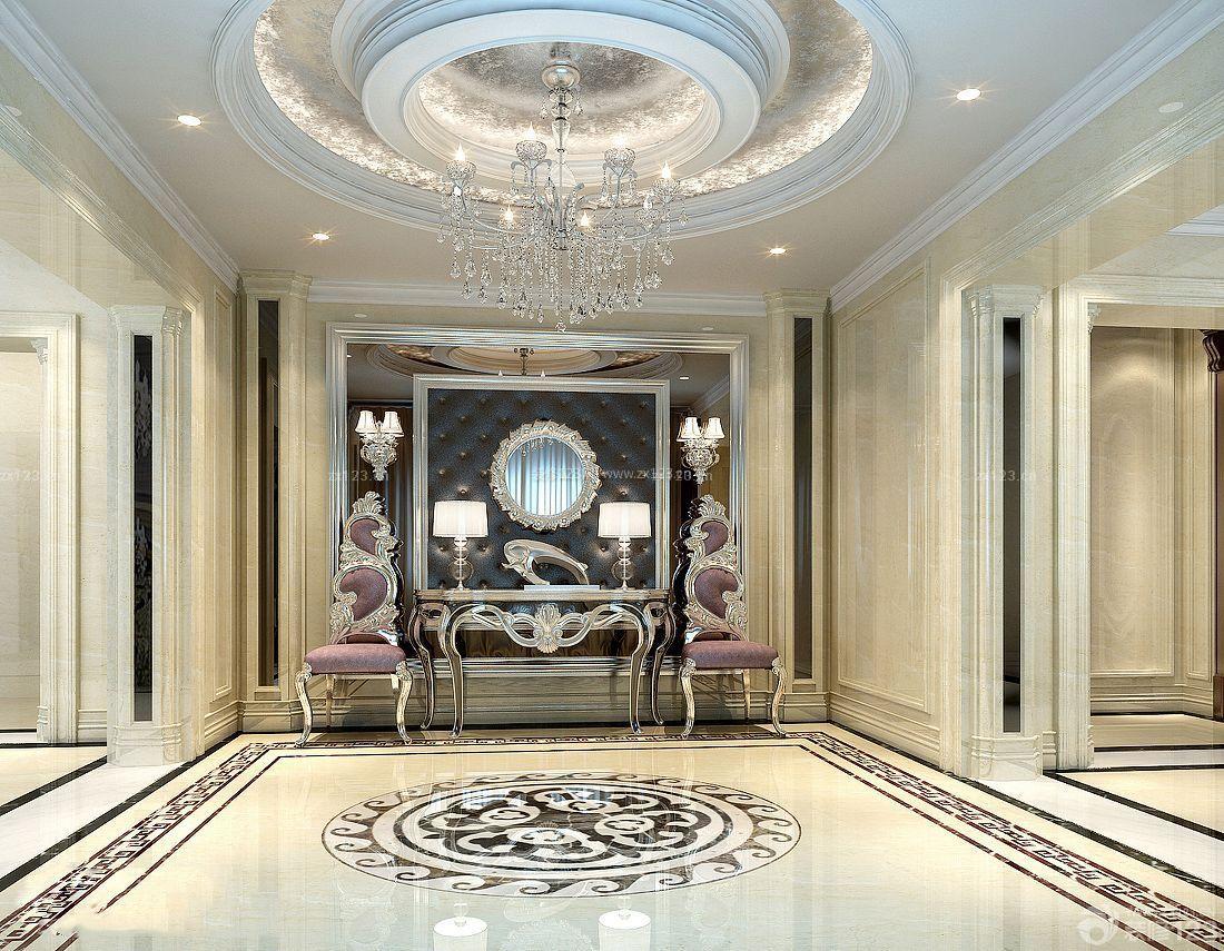 别墅室内入户吉祥地砖拼花设计效果图片大全