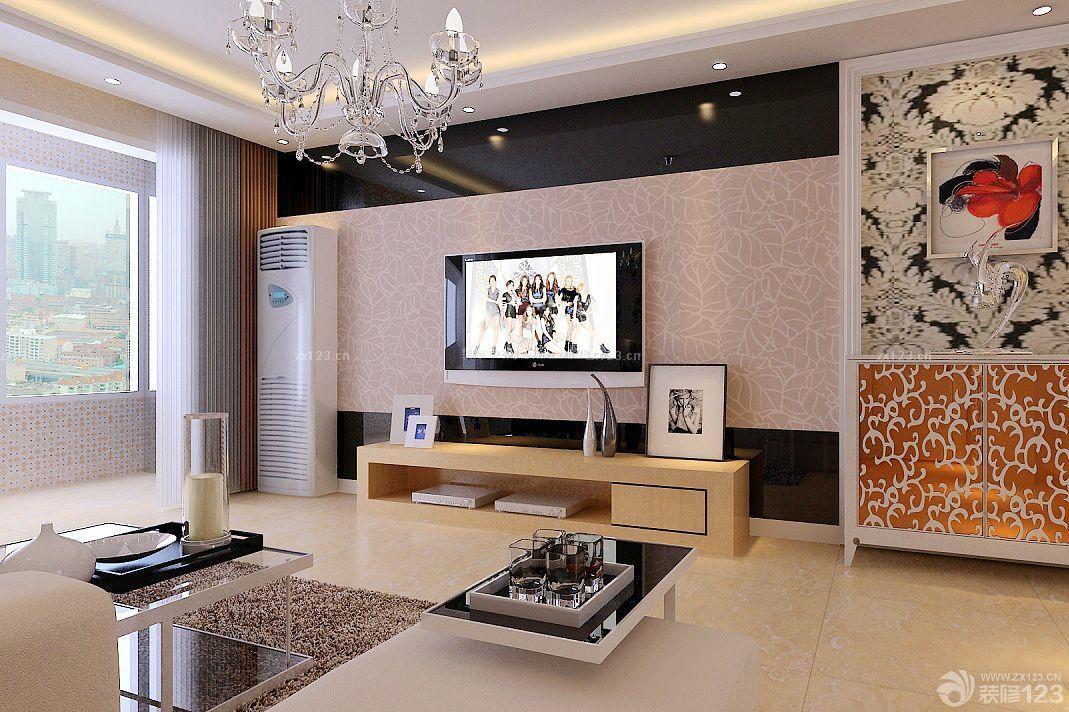 现代欧式小户型客厅电视背景墙暗门效果图2015_装修图片