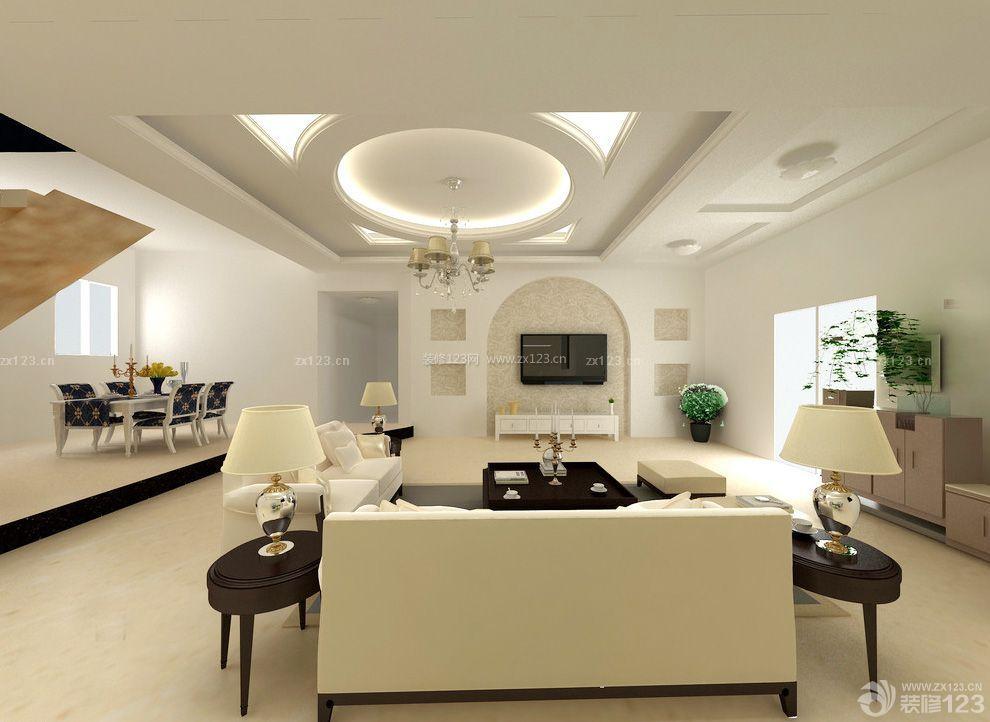 长形客厅石膏板吊顶装修效果图片