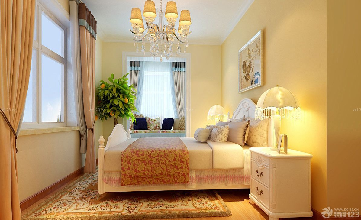 欧式硅藻泥主卧室背景墙装潢效果图2015款