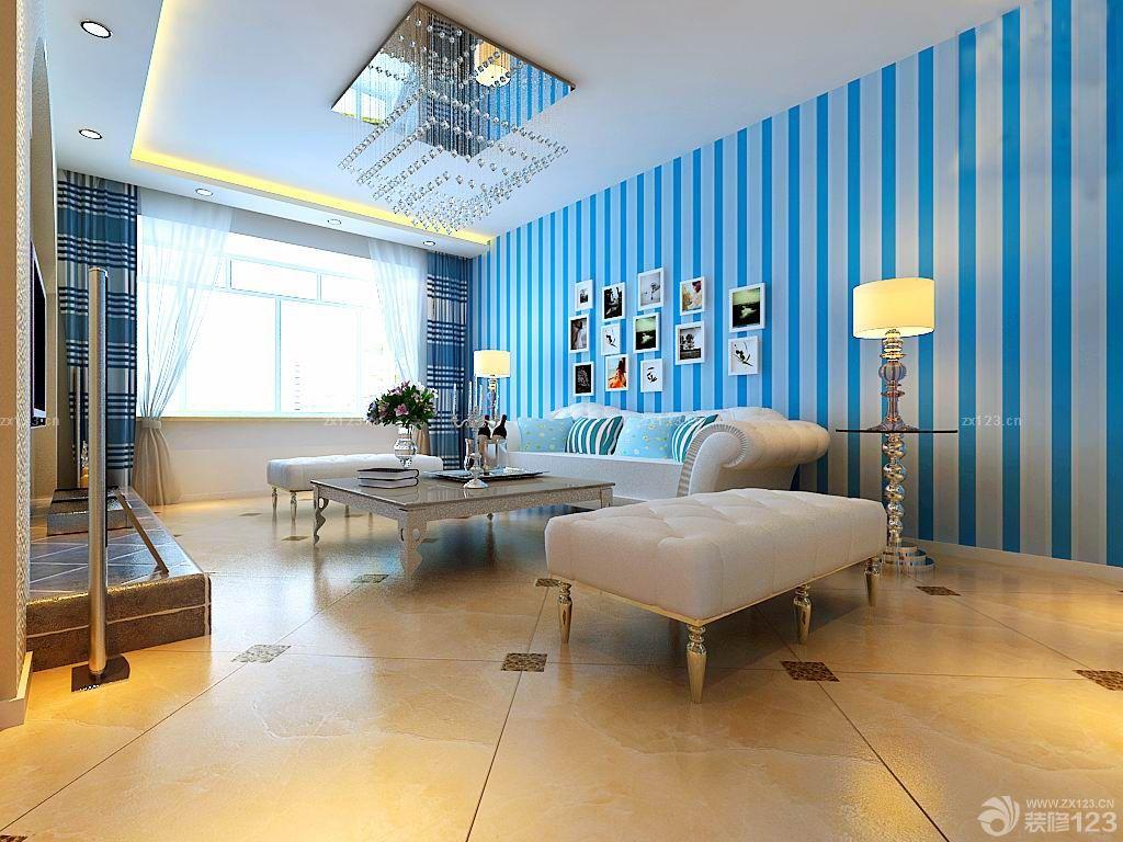 家庭装修客厅条纹壁纸效果图大全2015图片