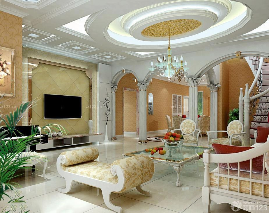 欧式家庭室内拱形门洞装修效果图片