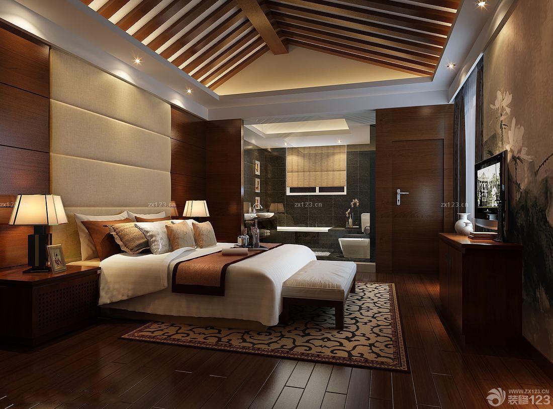 中式尖顶卧室装修门颜色搭配效果图