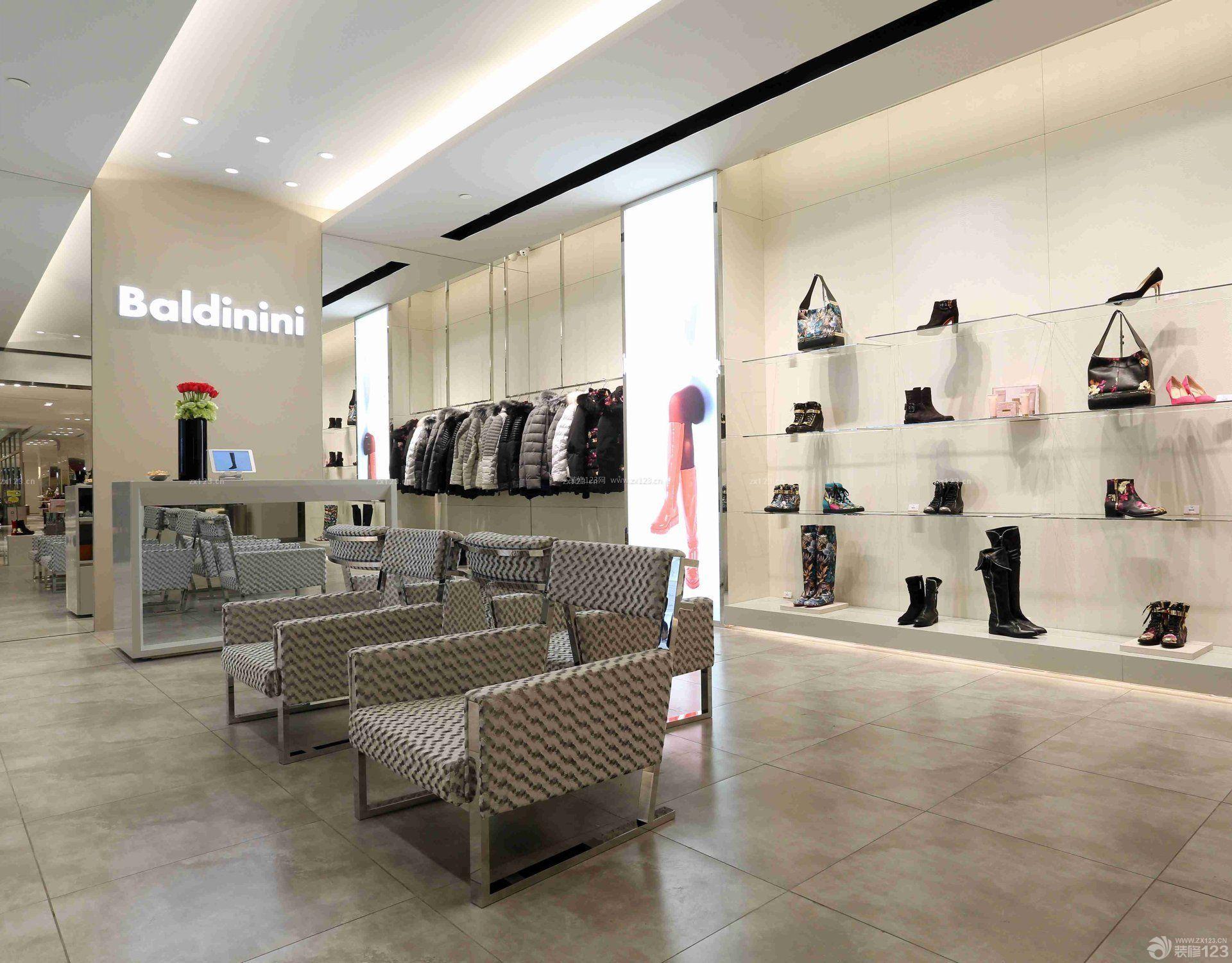 品牌鞋店形象墙设计装修效果图