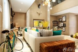 復式客廳布藝沙發裝修效果圖片