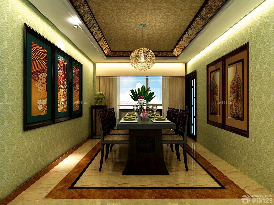 泰式装修风格餐厅花纹壁纸装修效果图片