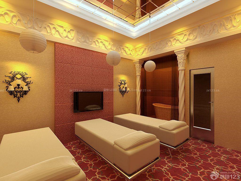 美容院泰式电视背景墙设计装修效果图片图片
