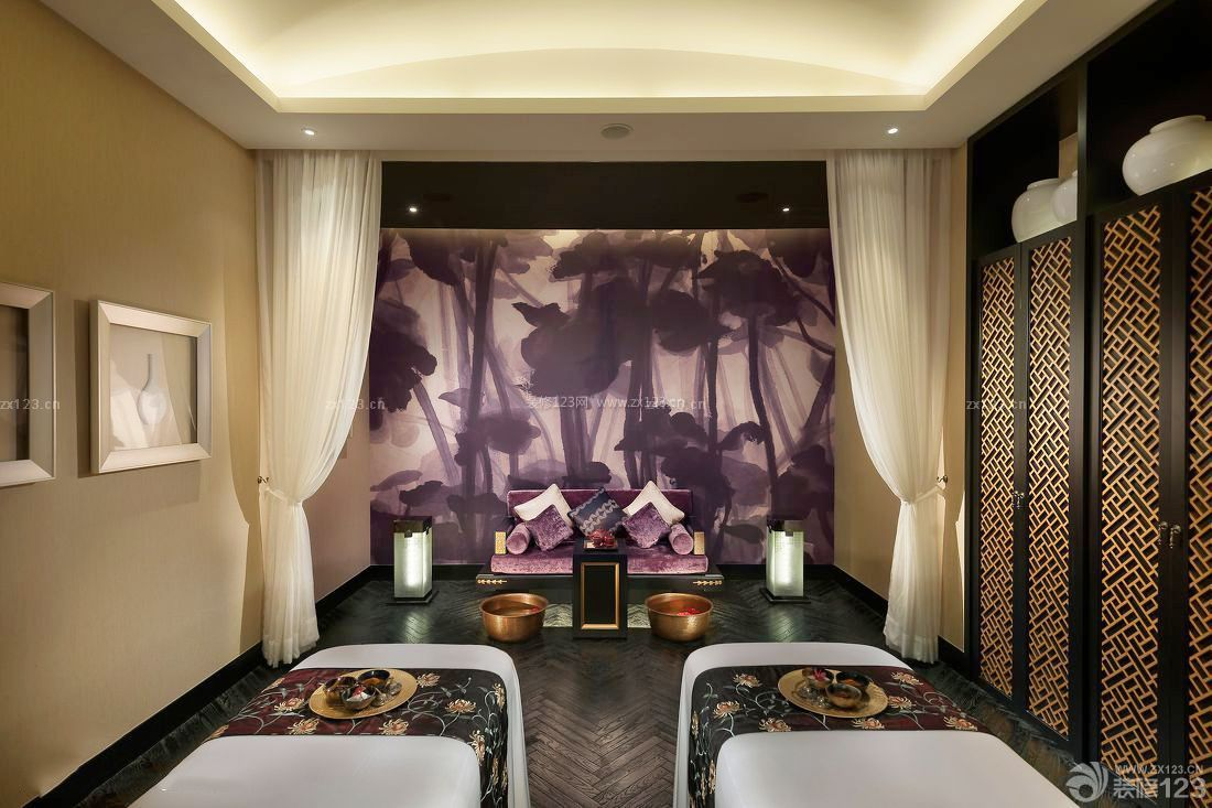 美容院泰式背景墙设计装修效果图片图片