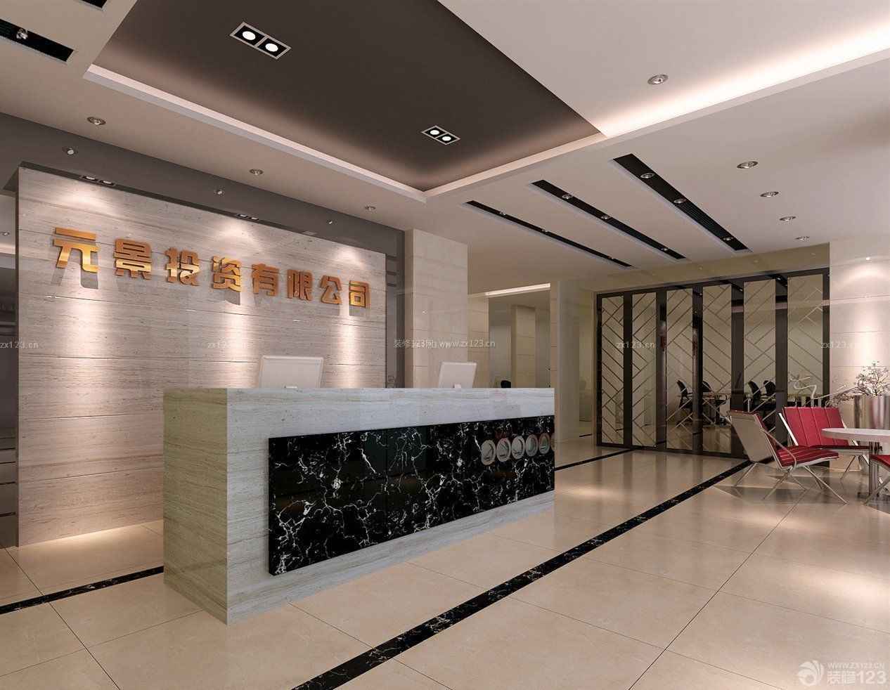 现代感公司前台背景墙效果图片