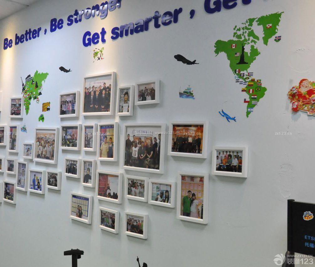 培训学校室内照片墙设计效果图