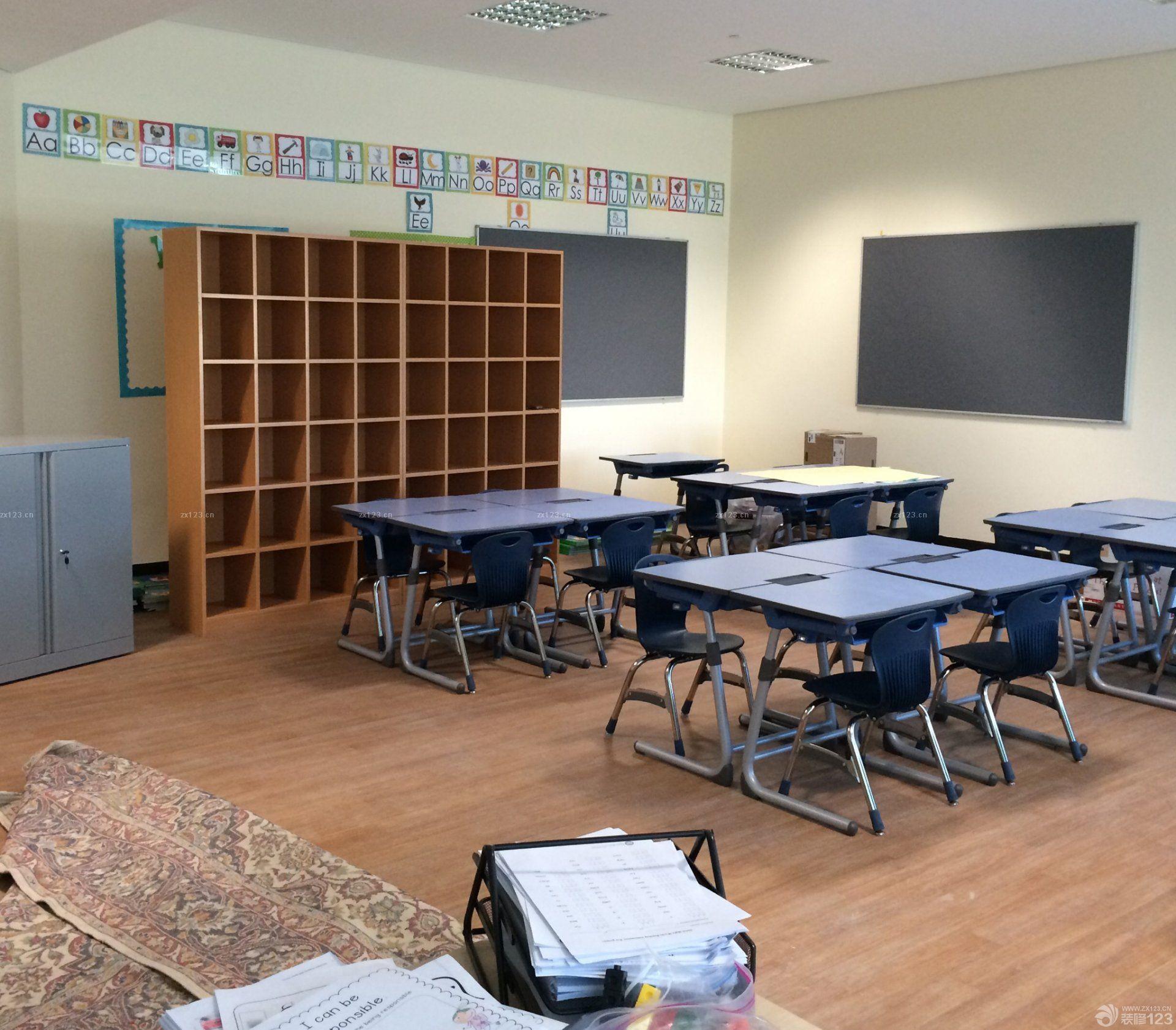 小型学校浅色木地板装修设计实景图