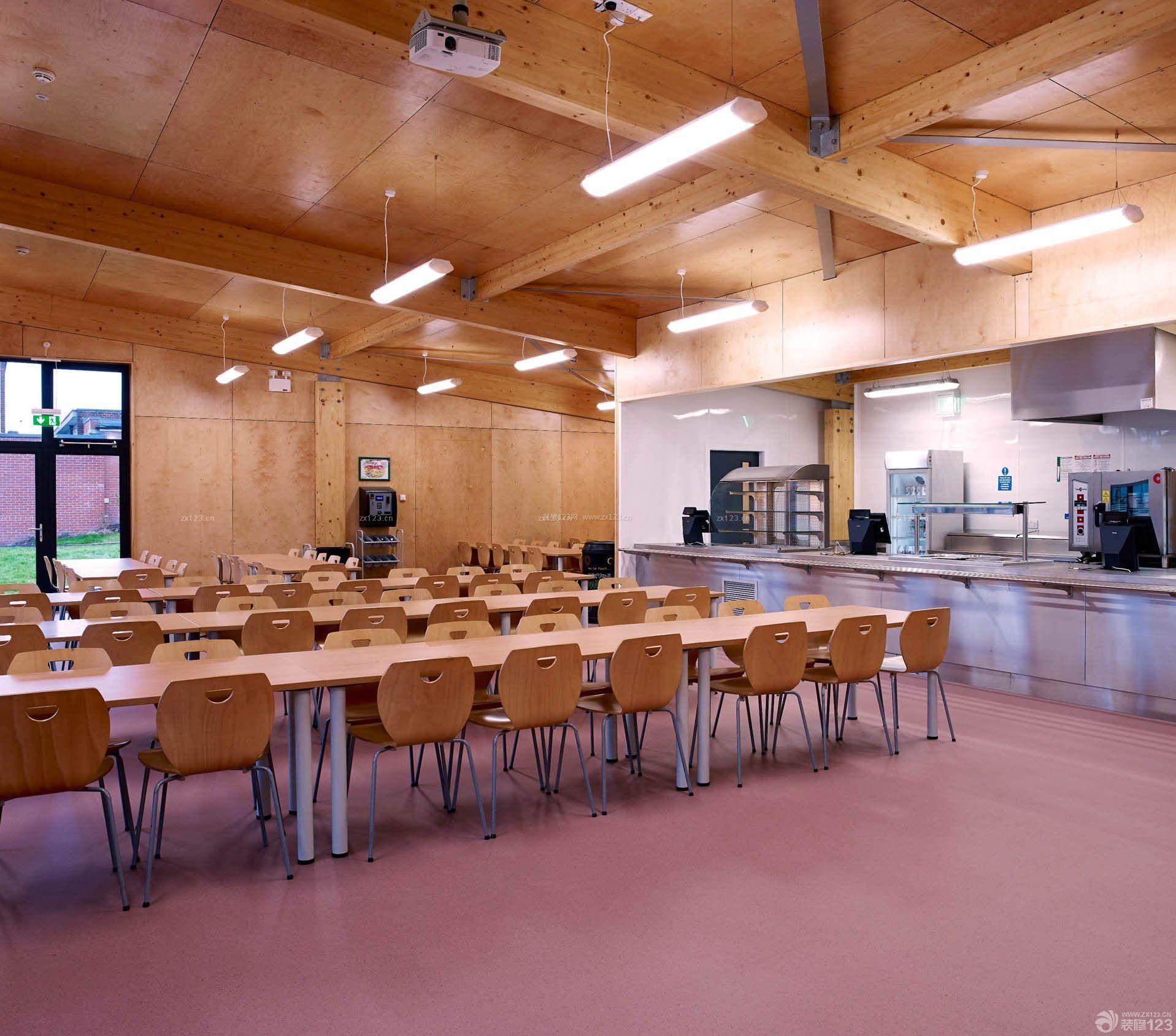 学校食堂木质吊顶装修效果图片