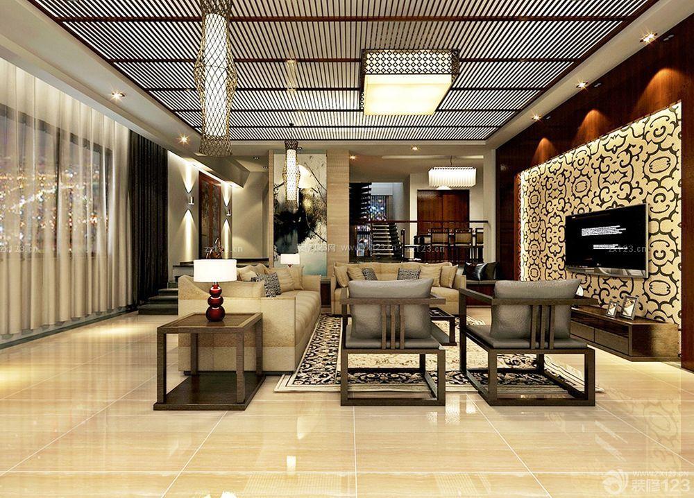 中式家装效果图客厅吊顶设计图片图片