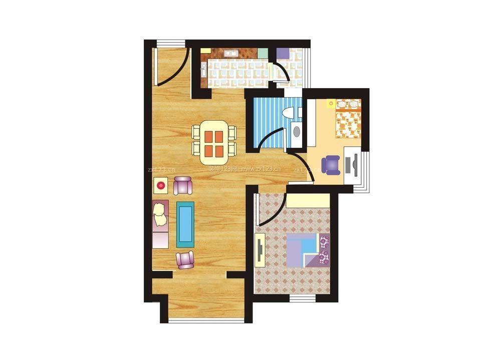 60平农村房子两室一厅设计户型图