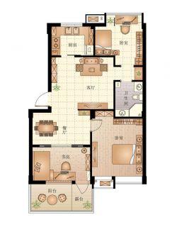 60平两室一厅家装户型图