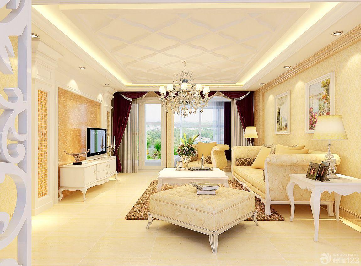 世界豪华别墅客厅石膏线吊顶效果图